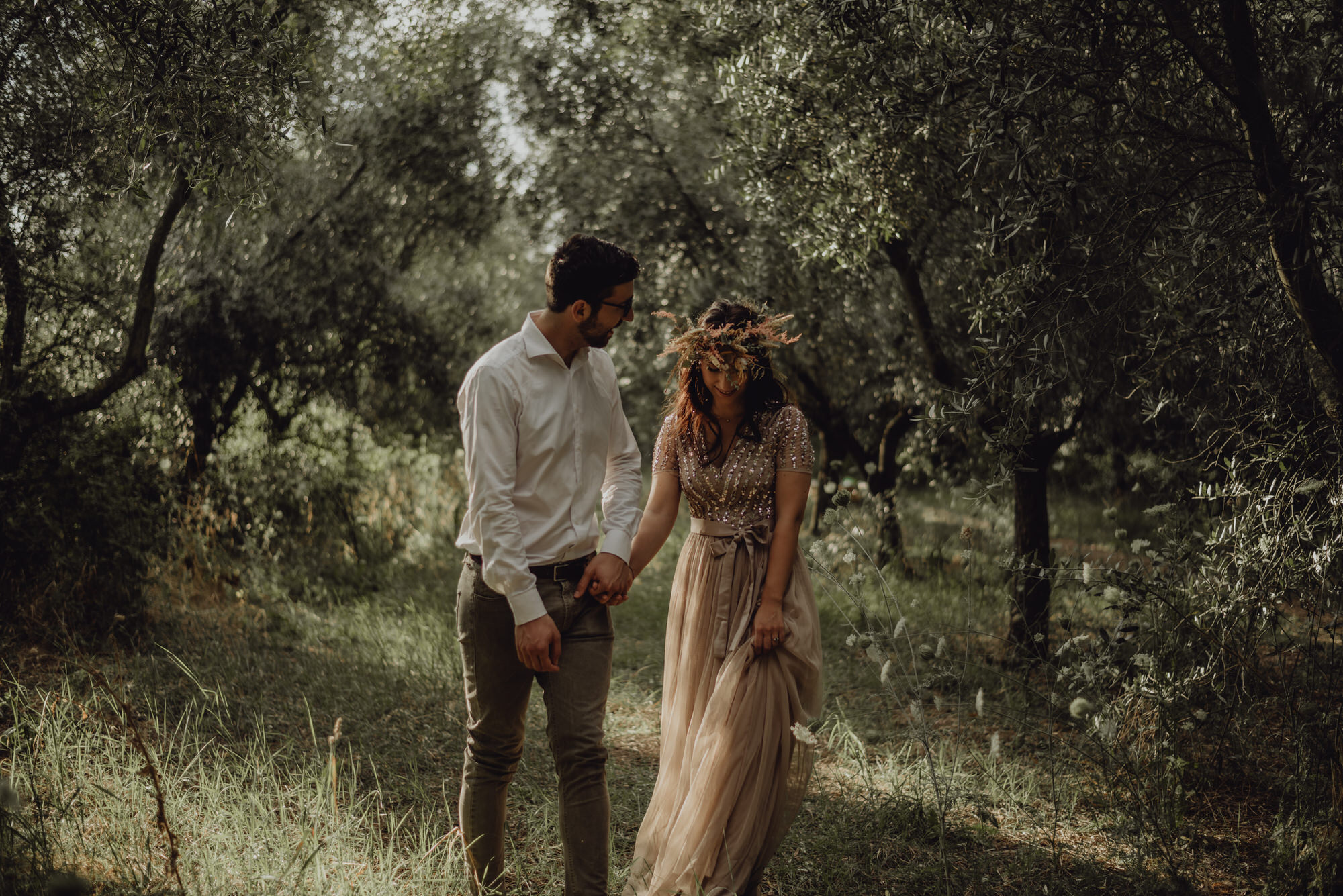 Romantic Pic-nic in an olive grove in Italy