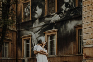 Passionate couple session in abandoned place in Rome
