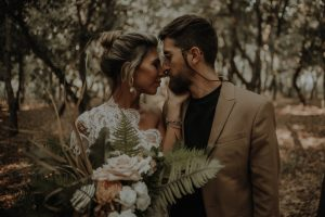 Lovers Post-vows exchange photoshoot in forest